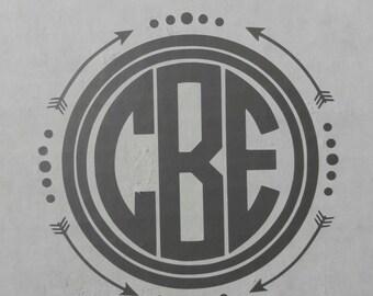 Arrow Circle Monogram Decal, Arrow Circle Monogram, Mongram decal, Personalized Arrow Decal, Arrow Car Decal