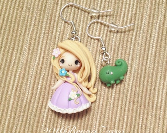 Chibi Rapunzel earrings ~ Cute Disney Princess Princess Earrings Polymer Clay Fimo Flower Girl Gift Handmade Kawaii tiny Pascal