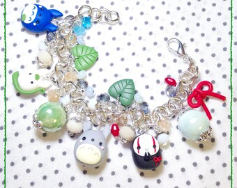 Bangle & Miyazaki Ghibli Totoro Bijoux Fimo Polymer Clay NoFace ~ Cute Kawaii My Neighbor Totoro Faceless Spirited Away