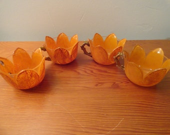 Set Of 4Unique Hand Painted Orange Glasses