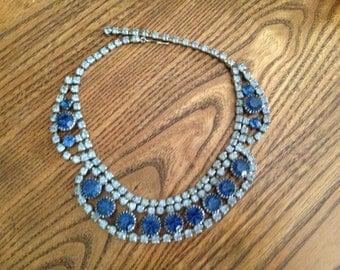 Vintage Blue and Light Blue Rhinestone Necklace - Juliana?