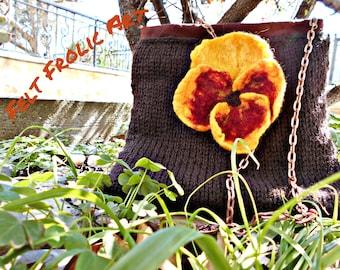 pansy* crochet bag* wet felted flower brooch* merino flower brooch*