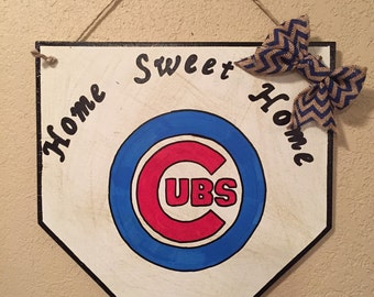 Chicago cubs sign, home plate sign, Cubs home plate, Chicago Cubs decor, home sweet home sign, baseball home plate sign, Cubs fan, Cubs