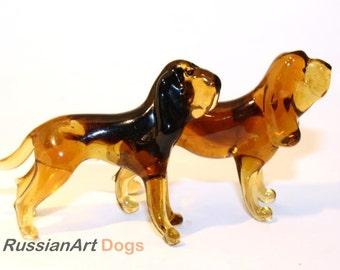 Statuette Bloodhound  dog handmade Murano glass, figurine