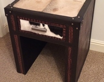 100% Leather an cowhide bedside drawer (brown)..REDUCED