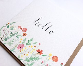 Hello greeting card, typography, watercolour, floral