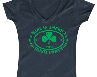 Made in America with Irish Parts - Ladies' V-neck