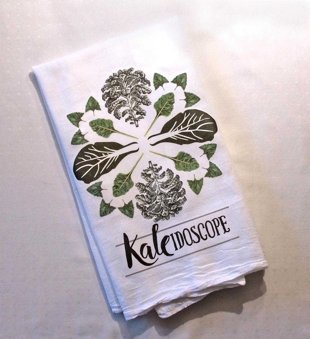 Tea Towel Kale Kaleidoscope Funny Dish Towel Tea Towels