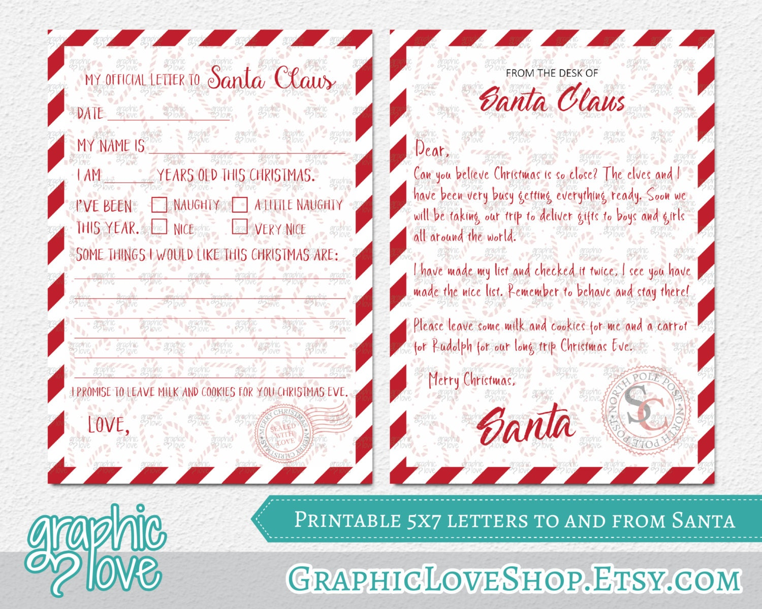 Candy Cane Official Letters To and From Santa – Printable Santa Wish List