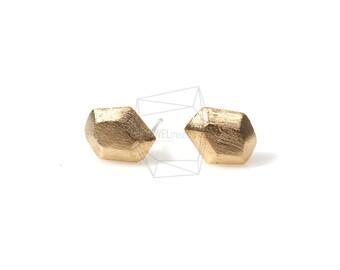 ERG-114-MG/2Pcs-hexagon Ear post/ 8mm x 8mm /Matte Gold Plated over Brass/925 sterling silver post