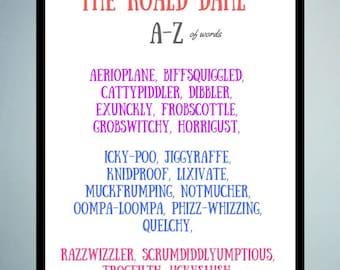 Roald Dahl Print | Digital Download | Roald Dahl Quote | Digital Print | Roald Dahl Poster | Typography Print | Alphabet Print