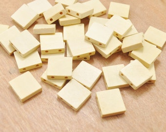 30pcs Natural Square Wooden Beads(2 holes),Unfinished Geometric Wood Beads, Wood Crafts -18mm