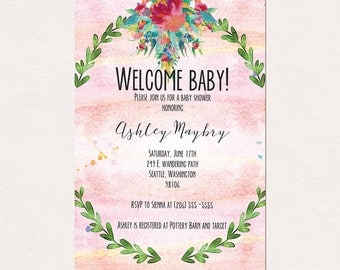 Watercolor Pink and Floral Baby Shower invitation | Blessingway | Sprinkle Shower , 5x7