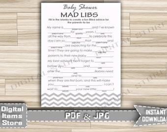 Chevron Gray Baby Shower Mad Libs Printable - Baby Shower Advice Parents Cards Mad Libs Gray and White Chevron - Instant Download - gc1