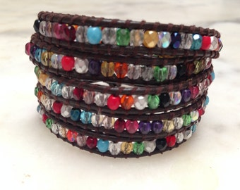 Energy Infused 5-wrap bracelet with multi-colored Preciosa crystals on dark brown leather