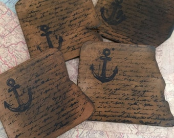 Leather Coasters, natural edge leather  nautical themed Coasters set, Captain Nemo coasters,  Nautical Gift, In June  FREE DOMESTIC SHIPPING