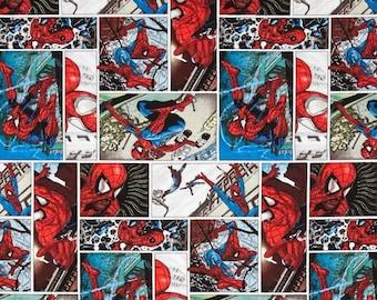 Spider-Man Marvel Spiderman Superhero Comic Scenes Cotton Fabric FQ