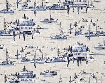 The Cove Sailboat Sailing Parchment Cotton Fabric from Indigo Cove Collection by Michael Miller Fabrics per FQ per metre