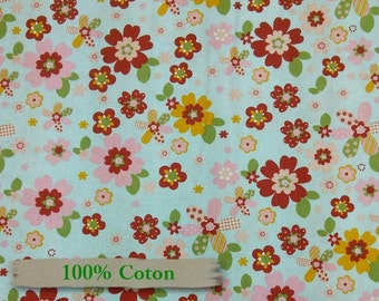 Forest Friends, by Camelot Cotton, flowers, blue, fat quarter, half-yard, by the yard, by the mètre,