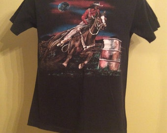 Vtg 80s Rodeo Cowgirl T-Shirt Black S Horse Western Cowboy