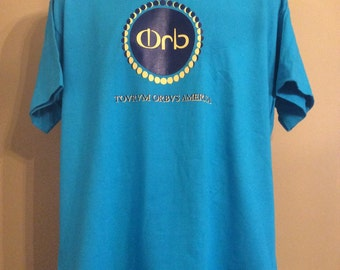 Vtg Early 90s The Orb Concert T-Shirt Blue XL America Tour Electronica Electronic Music Techno