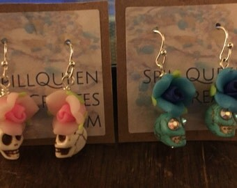 Day of the Dead Small Polymer Clay Rose and Stone Skull Earrings