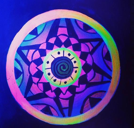 Psychedelic Neon Glow Mandala By Corymanleyart On Etsy