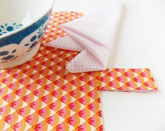 Placemat with napkin Orange and pink