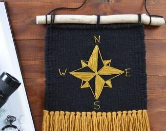Golden Compass Woven Wall Hanging