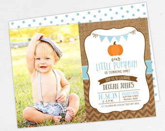 24 HOUR TURNAROUND  First Birthday Invitation, Photo First Birthday Invitation, Printable Invite, Burlap, Our Little Pumpkin is Turning One