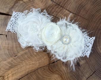 Handmade Ivory Champagne fabric flower headband. Christenings and Baptism headband, flower girl headband, Baby girl gift.