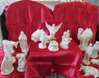 Hand Painted Ceramic Mother of Pearl Holland Nativity Set