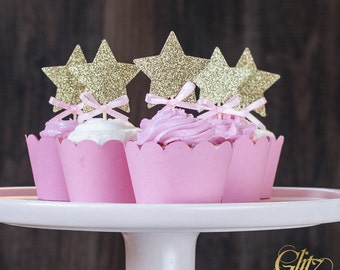 12 Twinkle twinkle cupcake toppers, pink and gold stars cupcake toppers, twinkle twinkle little star, first birthday, gold star