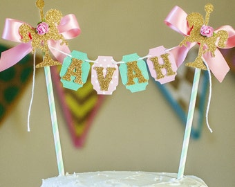 Carousel Cake Bunting, PERSONALIZED cake bunting, cake topper, smash cake, carnival cake topper