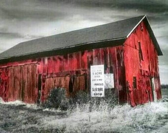Black and white barn photograph with hand added color