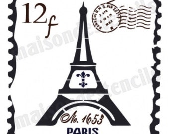 French Postage Stamp Eiffel Tower Stencil (12x12)