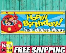 Little Einsteins Personalized Custom HAPPY BIRTHDAY Vinyl Banner 13 oz Hemmed/Grommets Party Decoration Free Shipping & Design