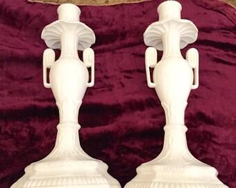 Vintage Leedsware Creamware Pair of Candleholders.