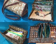 Beading and jewelry making organizer bag with detachable bead mat, 10 pockets & plenty room in between for boxes and containers