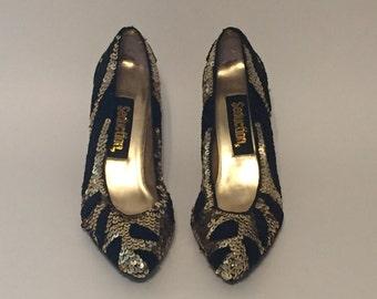 Vintage Gold and Black Heels
