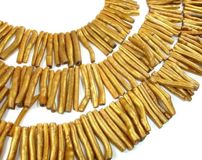 Gold Coral Beads, Stick,  Approx (3-5)mmx(28-30)mm Top Drilled beads, 16 Inch, Full strand, Approx 98-105 beads, Hole 1mm (236059001)