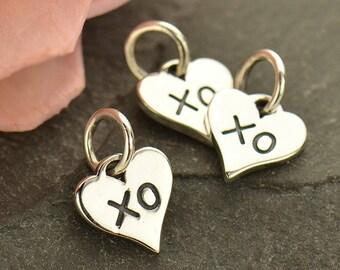 Sterling Silver, Small Heart, Heart Charm, XO Charm, Hug and Kiss, Hug Charm, Kiss Charm, Silver Hug Charm, Silver Kiss Charm, Silver XO