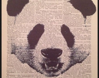 Vintage Panda Glasses print Original Dictionary Book Page Wall Art Picture gift quirky animal