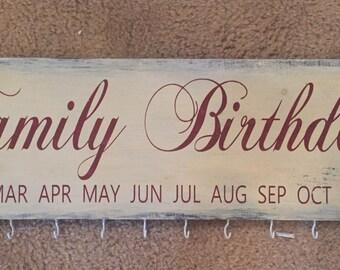 Family birthdays wall sign