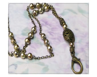 Beaded Lanyard necklace, Work ID badge holder, and reading glasses chain - Bronze with gold