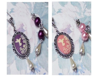 Hummingbird Cameo pendant necklace earrings set, vintage style, Pink or purple, Choose your fittings