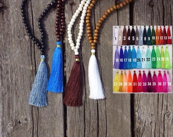 Custom beaded tassel necklace- 8mm wooden beads
