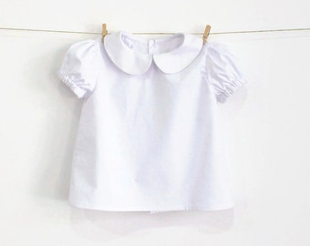 Baby Girl White Shirt Blouse – Peter Pan Collar – Puff Sleeve – Short Sleeve