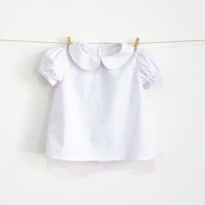 Baby Girl White Shirt Blouse Peter Pan Collar By Acostureira