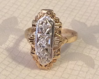Art Deco Vintage 10k Filigree Diamond Ring, Yellow and White Gold, Size 5.25